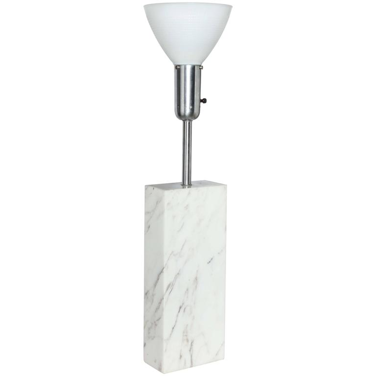Nessen Studios White Carrara Marble Table Lamp With Glass Shade 1950 S For