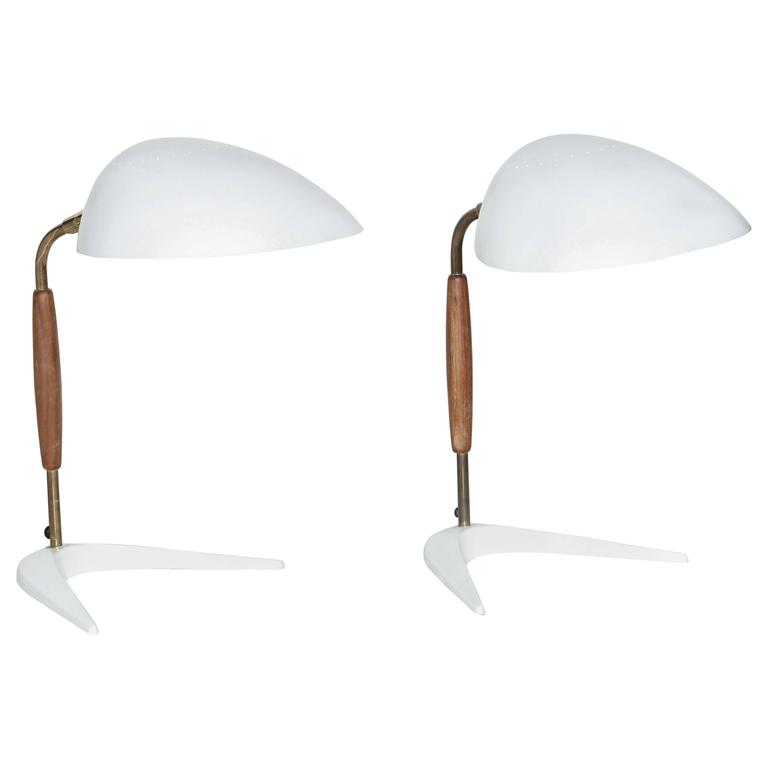 "1950s Gerald Thurston for Lightolier White ""Boomerang"" Desk Lamp"