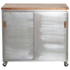 Rolling Industrial Modern Walnut and Steel Storage Cabinet
