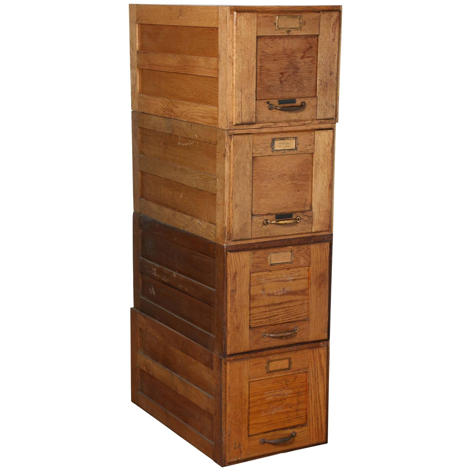 Early 20th Century Four Stack Oak File Boxes For Sale at ...