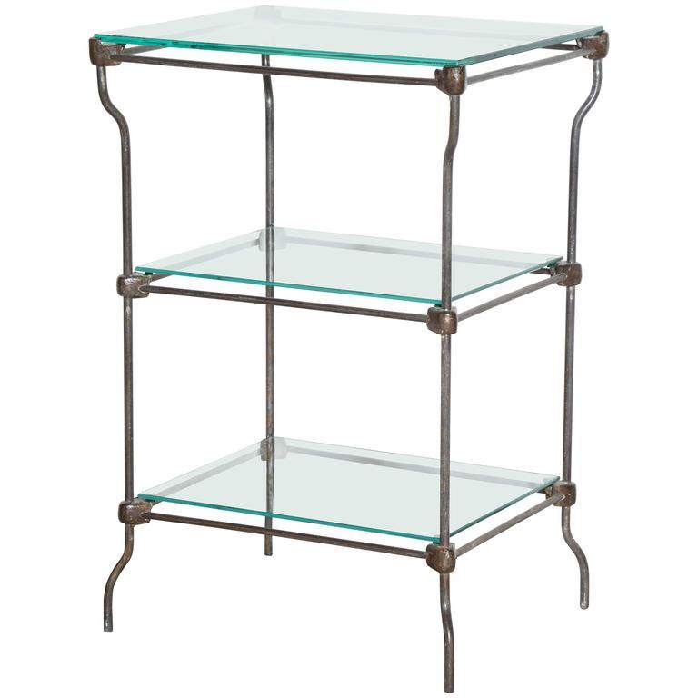 Edwardian Three Tier Iron Etagere, Dry Bar with Three Glass Shelves