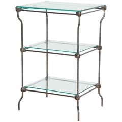 Edwardian Three Tier Iron Etagere, Dry Bar with Three Glass Shelves, Circa 1890s