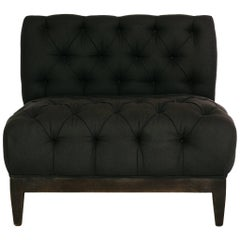 Button Tufted Charcoal Banquette