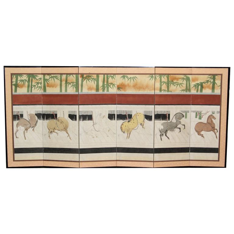 hand-Painted Japanese Folding Screen, Byobu Ponies Painting, Goldleaf