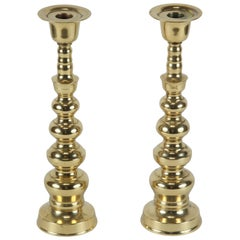 Pair of Polished Victorian Brass Candlesticks