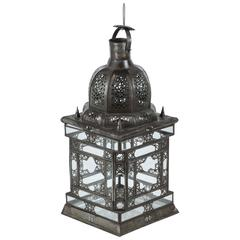 Moroccan Moorish Clear Glass Lantern with Filigree Design