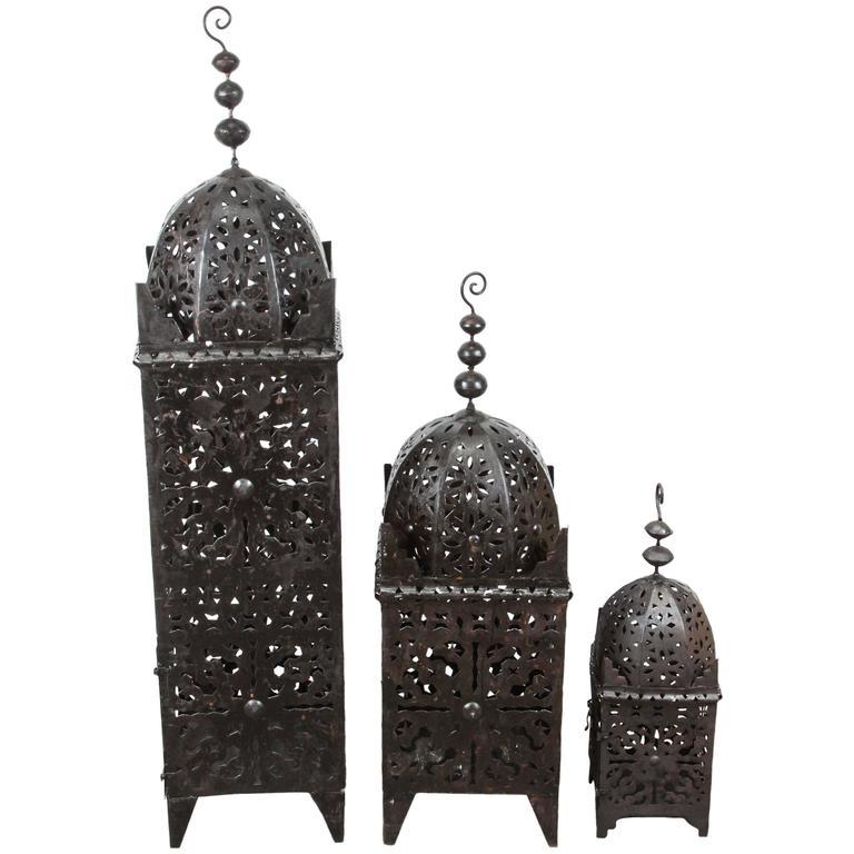 Set of Three Large Moroccan Hurricane Metal Candle Lanterns