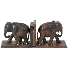 Ebony Hand-Carved Elephant Bookends