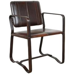 Brown Leather Wrapped Chair after Jacques Adnet