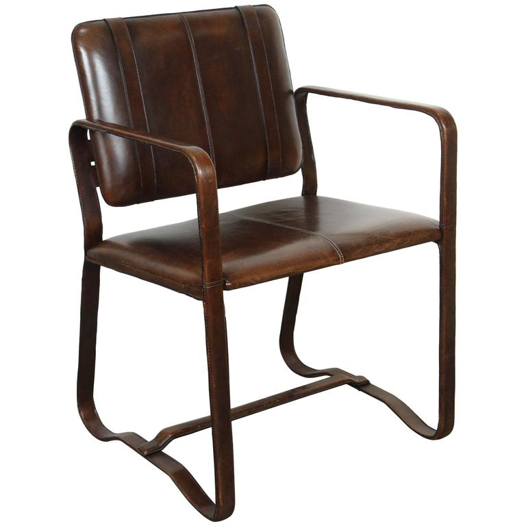 Brown Leather Chair After Jacques Adnet At 1stdibs