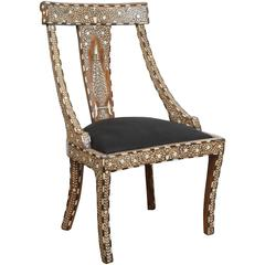 19th Century Anglo-Indian Bone and Ivory Inlay Side Chair