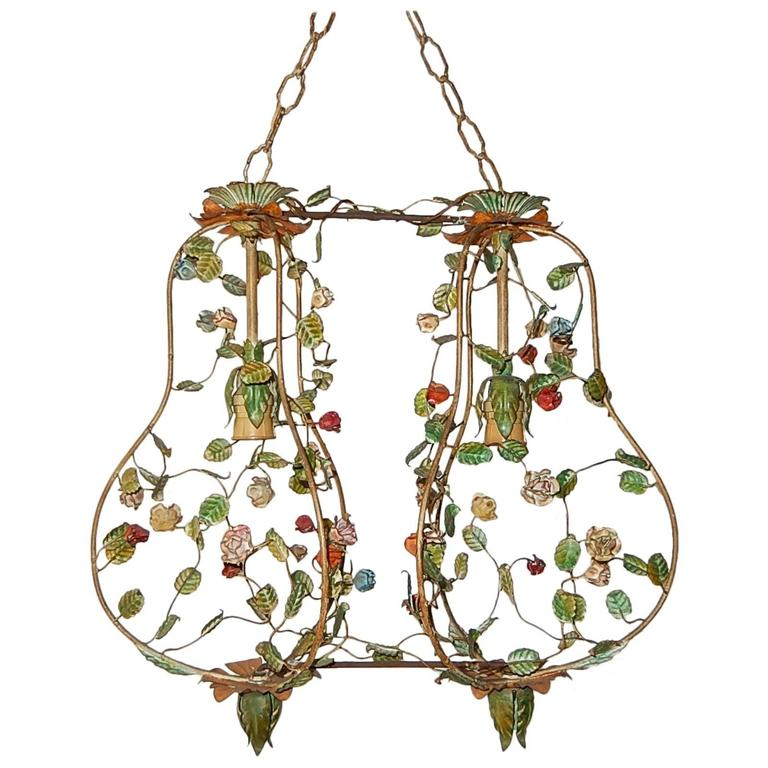 French Double Floral Tole Roses Chandelier