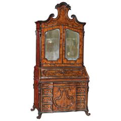 19th Century Bureau Made by Carved Walnut