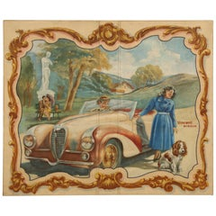 French Delahaye Automobile Huge Oil Painting, circa 1930's Over 6' x 7' in Size