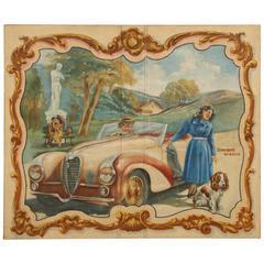 Delahaye Automobile Painting, circa 1930s