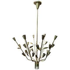 1950s Italia Brass Chandelier with Floral Motif