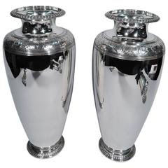 Pair of Large Classical Art Deco Sterling Silver Vases by Tiffany