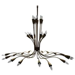 Grand Italian Brass Spider Chandelier, in the style of Arredoluce