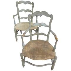 Pair of Antique French Painted Armchairs