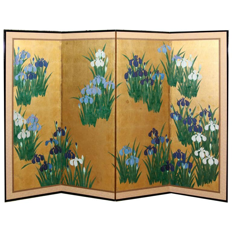 Hand-Painted Japanese Folding Screen Byobu Iris Painting, Watercolor, Goldleaf