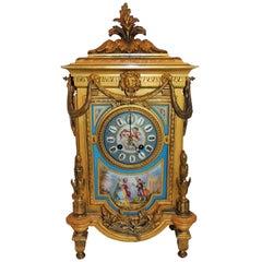 Wonderful French Enameled Cherub Doré Bronze Porcelain Clock Swag Lion Mask