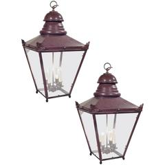Pair of Large French Copper Lanterns