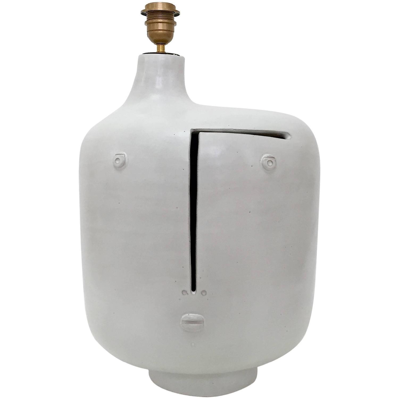 large ceramic lamp base glazed in white for sale at 1stdibs. Black Bedroom Furniture Sets. Home Design Ideas