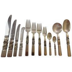 Scroll by Georg Jensen Sterling Silver Flatware Dinner Set 12 Service 175 Pcs