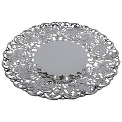 Old Fashioned English Sterling Silver Cake Plate