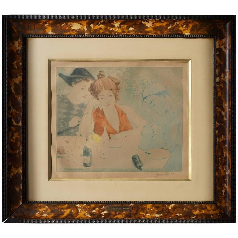 Painting by Richard Ranft, Jeune Femme Et Costumes Des Pierrots For Sale