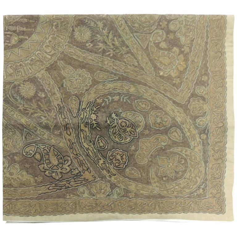 19th century Turkish Ottoman Empire metallic embroidery cloth. Depicting Turkish Tughra monogram calligraphy pattern hand embroidery is made of metallic threads on linen in shapes of gold, cooper and black. The back is lined with raw natural color