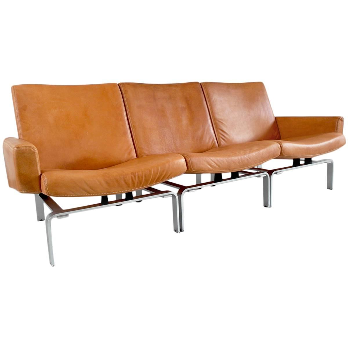 Of four chairs in oak and patinated cognac leather for sale at 1stdibs - Exclusive J Rgen H J Leather And Aluminium Sofa For Niels Vits E At 1stdibs