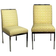 Pair of Mid-Century Chrome Chairs New Upholstered Citron Greek Key
