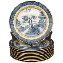 Set of Gilded Blue and White Chinoiserie Dessert Plates