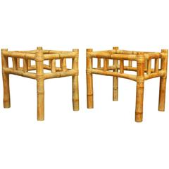 Pair of Organic Bamboo Side Tables Attributed to Ralph Lauren
