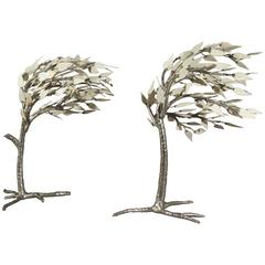 Pair of Rare Bronze and Bone Trees by Jacques Duval Brasseur