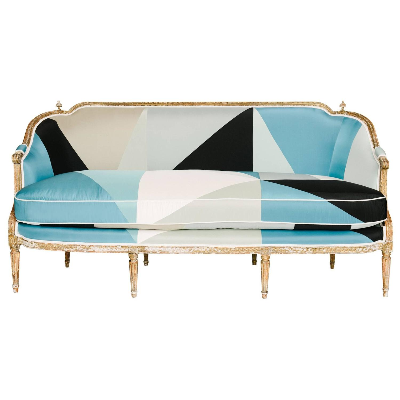 19th century louis xvi style miles redd cubist silk sofa