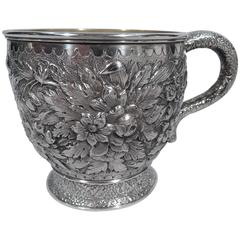 Large Antique Sterling Silver Baby Cup with Floral Repoussé by Tiffany