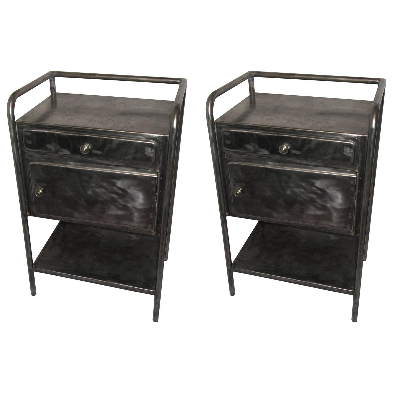 Pair Of Vintage French Industrial Steel Nightstands Or Side Tables At  1stdibs