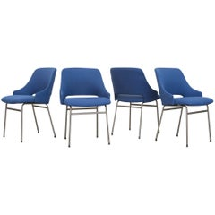 Set of Four Pastoe FM 32 Chairs in Royal Blue