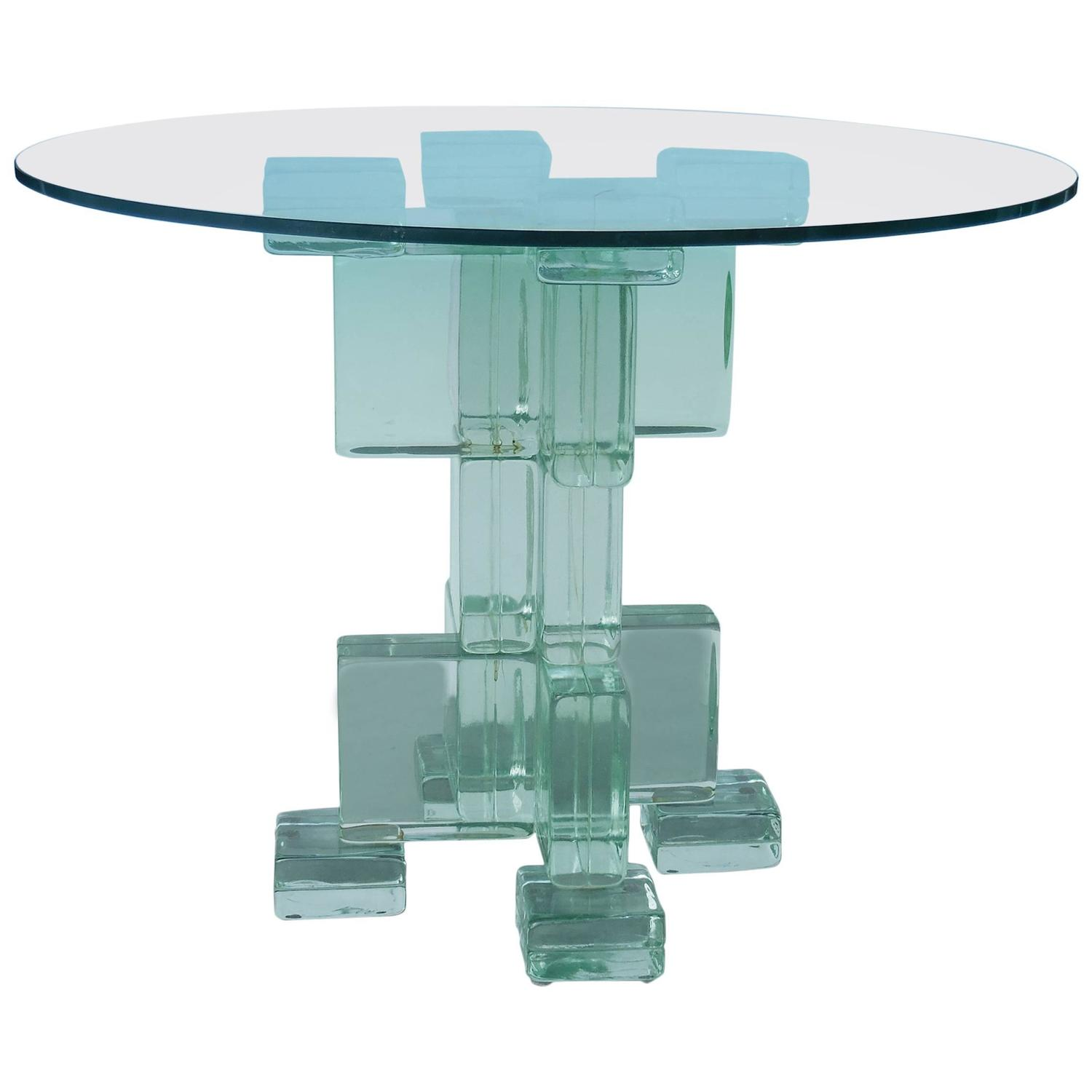 Glass Block Dining Table by Imperial Imagineering at 1stdibs