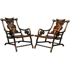 Pair of Chinese Rosewood Lounge Chairs with Mother-of-Pearl Inlay
