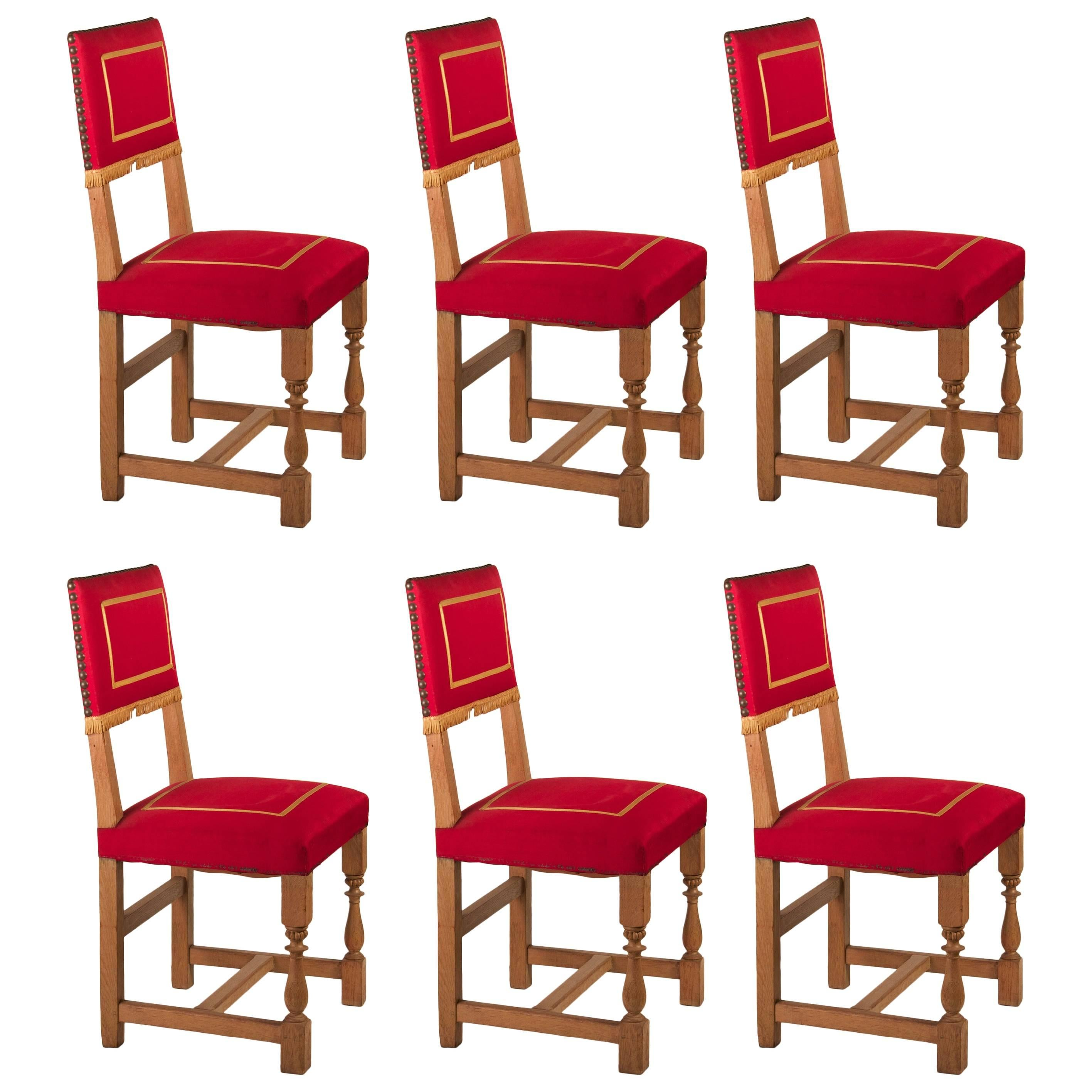 French 1940s Set of Six Oak Dining Chairs with Original Upholstery