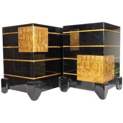 Mid-Century Modern Pair of Unusual Black & Gold Lacquerware Stands, Side Tables