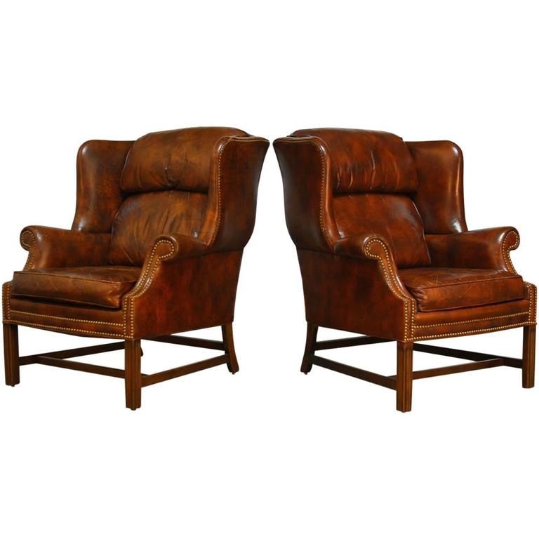 Pair Of Marbled Leather Wingback Chairs By Schafer Bros For