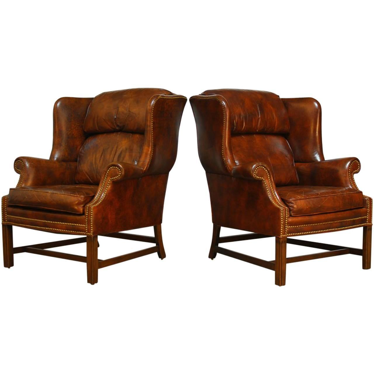 Charmant Pair Of Marbled Leather Wingback Chairs By Schafer Bros At 1stdibs