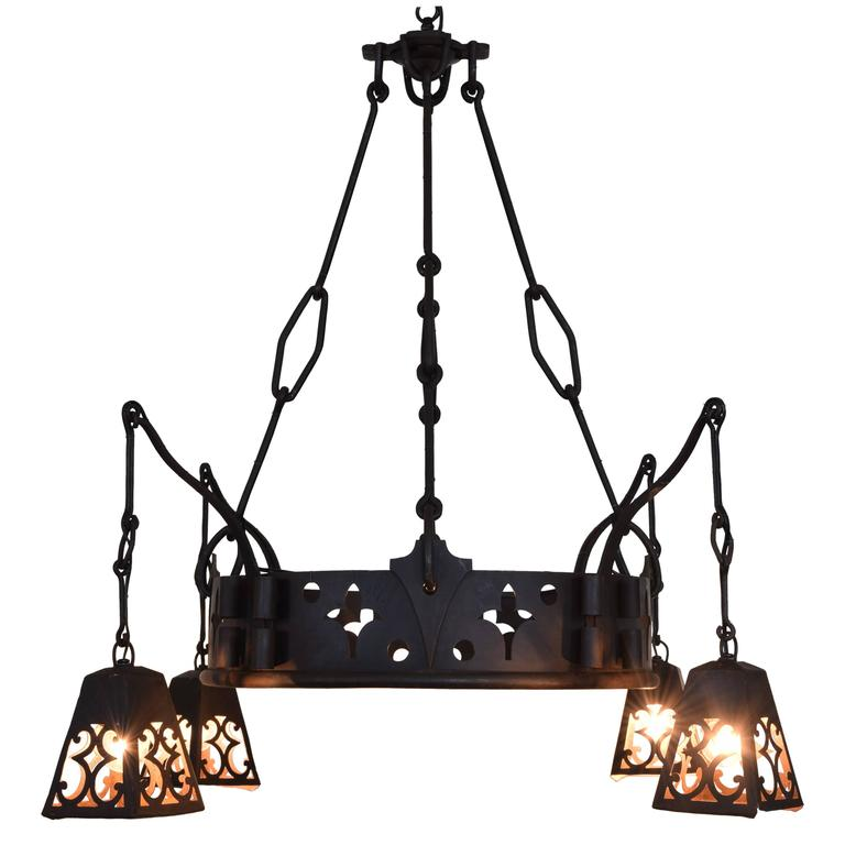 French Arts & Crafts Signed Wrought & Cast Iron Chandelier with Hanging Lantern