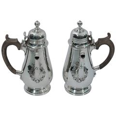 Pair of Georgian Style Sterling Silver Cafe au Lait Pots