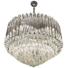 Mid-Century Italian Murano Round Nine-Tiered Glass Chandelier by Venini