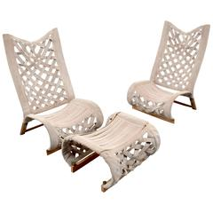 Pair of Marzio Cecchi Lounge Chairs and Ottoman, circa 1975